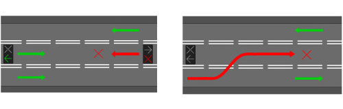 Сигналы реверсивного светофора